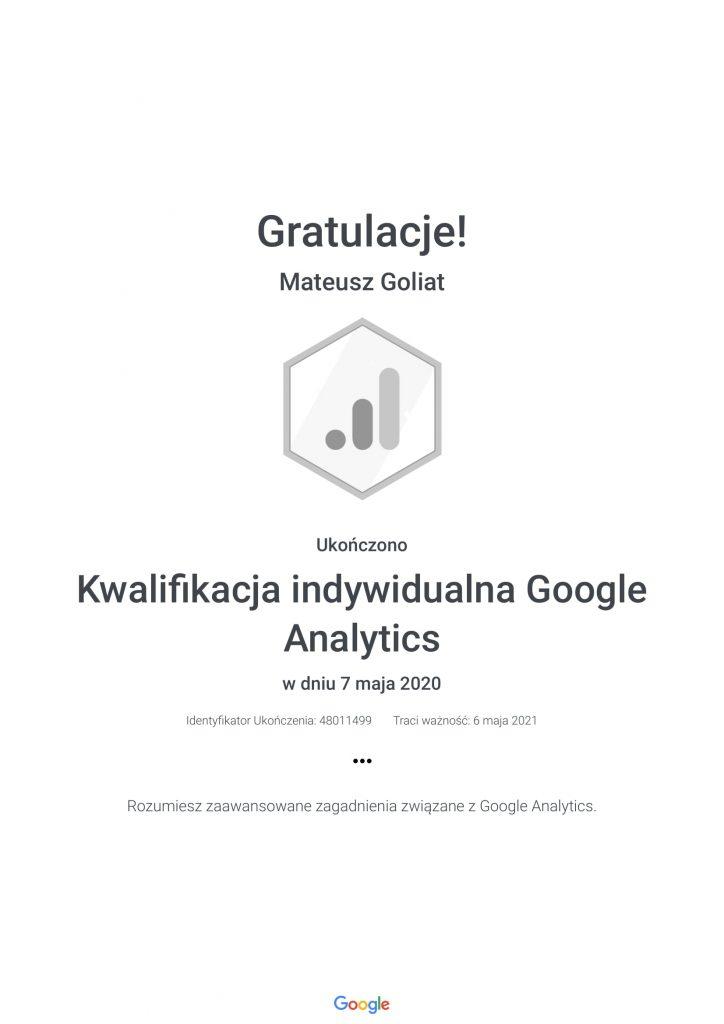 Kwalifikacja indywidualna Google Analytics Mateusz Goliat